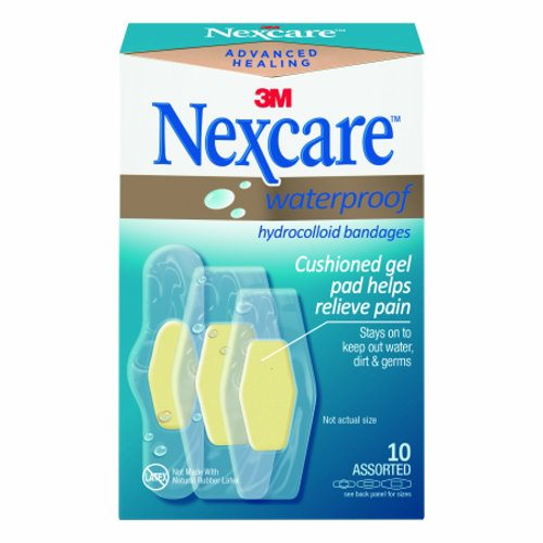 Adhesive Strip Nexcare Waterproof 1 X 2-1/5 Inch / 1-1/5 X 2-2/5 Inch / 1 X 2 - 7/10 Inch Film / Hyd - 10 Count by 3M Unique bandage shape provides exceptional waterproof protectionAdhesive seals around pad to provide the optimal healing environment that promotes healing and helps prevent infectionWaterproof design stays on skin in the bath, shower or poolGel pad helps protect cuts, scrapes, blisters and minor burnsDiamond shape provides a better seal around the padBreathable, stretchy construction moves with youUltra-thin, clear bandage offers a minimal feel and is virtually invisibleAllows for easy application with one hand