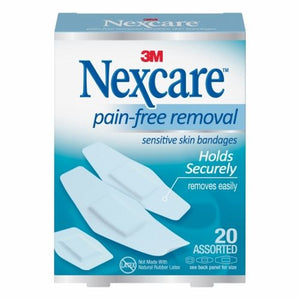 Adhesive Strip Nexcare Sensitive Skin 7/8 X 1-1/4 Inch / 1-1/8 X 3 Inch / 15/16 X 1 - 1/8 Inch Silic 20 Count by Nexcare