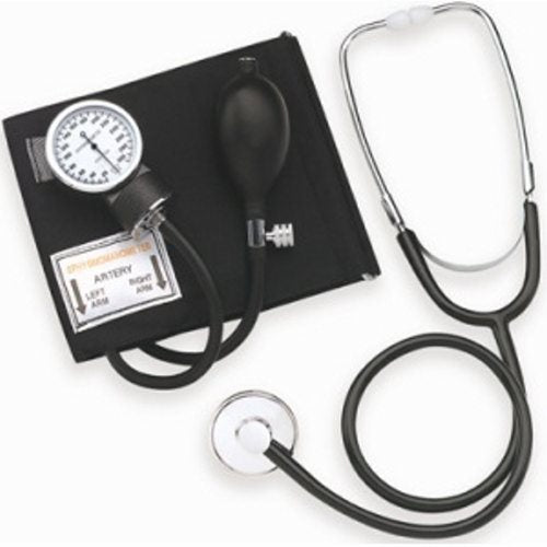 Blood Pressure w Stethoscope Kit Pocket Style Hand Held Large Nylon Cuff 22 Inch Stethoscope Tube 1 Each by Mabis