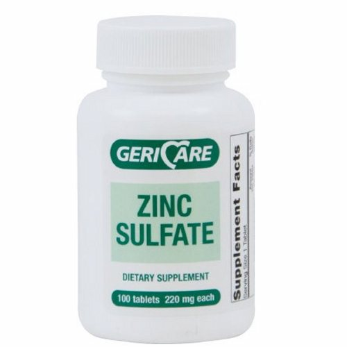 Mineral Supplement Geri-Care Zinc Gluconate 220 mg Strength Tablet 100 per Bottle - 100 Tabs by McKesson Zinc Sulfate Tablets220 mg Each220 mg of zinc sulfate heptahydrate is equivalent to 140 mg of zinc sulfate monohydrate supplying 50 mg of elemental zinc.Dietary supplement.Not Made with Natural Rubber LatexPackaged: 100 Per Bottle