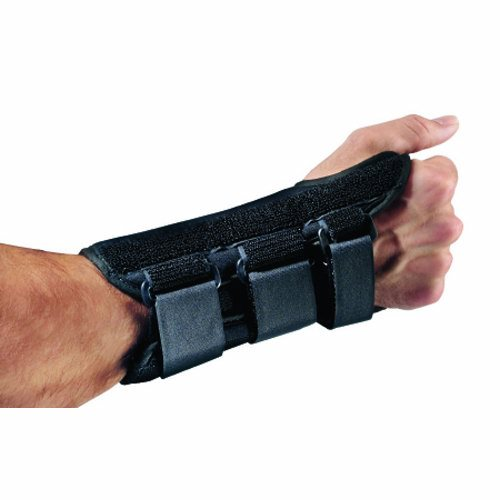 Wrist Splint PROCARE ComfortForm Palmar Stay Aluminum / Foam / Lycra Left Hand Black X-Small - 1 Each by DJO Durable lightweight, breathable lycra fabric for patient comfortPreformed aluminum stay helps provide anatomically correct fit and proper supportIdeal for sprains, strains and control of Carpal Tunnel Syndrome symptomsFits a wrist circumference up to 5-1/2 inch7 Inch Length