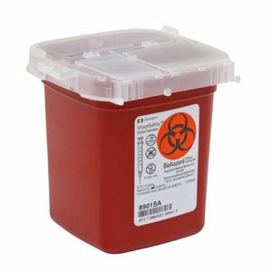 Phlebotomy Sharps Container SharpSafety 4-1/4 H X 4-1/4 D X 4-1/2 W Inch 1 Pint Red Vertical Entry L