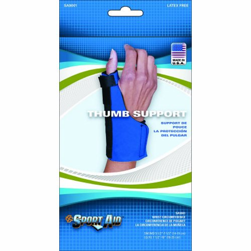 Thumb Support Sport-Aid Wraparound Neoprene Left or Right Hand Blue Small / Medium - Blue 1 Each by Scott Specialties Flexible stay to keep thumb in neutral positionSupports yet allows for good gripFor sizing, measure the wrist circumference