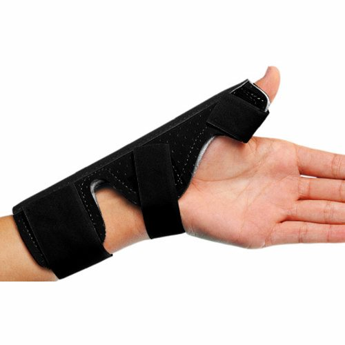 Thumb Splint PROCARE Wrist Strap Aluminum / Suede Left or Right Hand Beige One Size Fits Most - 1 Each by DJO Perforated suede flannel linerMalleable aluminum stays helps abduct in proper position