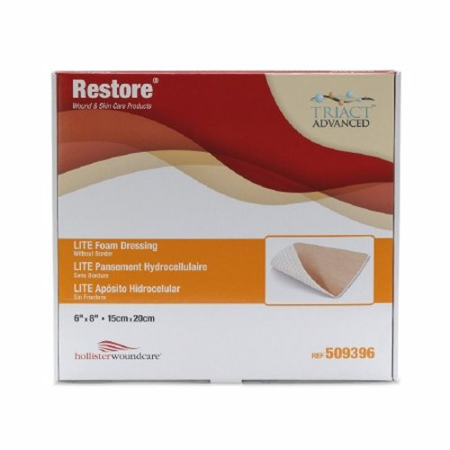 Thin Foam Dressing Restore LITE 2-1/2 X 2-1/2 Inch Square Non-Adhesive without Border Sterile - 10 Count by Hollister A foam dressing containing TRIACT lipido-colloid technology which provides a moist wound interface and allows virtually pain-free removalIt also helps avoid trauma to delicate tissue upon removalThin and conformable non-adhesive absorbent dressingIndicated for light to moderate exuding acute and chronic woundsGentle tack allows for one-handed applicationHelps reduce risk of maceration
