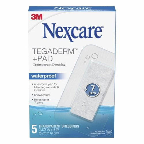 Transparent Dressing with Pad Nexcare Tegaderm+ Pad Rectangle 2-3/8 X 4 Inch 2 Tab Delivery Without  Case of 60 by 3M