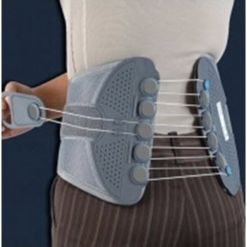Spine Brace DonJoy Medium Front Closure Adult - 1 Each by DonJoy Provides relief of discomfort associated with strain and sprains. Also aids in decompression of the spine and in proper alignment while sitting and standing for prolonged periods of time. Ergonomically shaped lightweight panels and flexible pulley system help provide support and compression while comfortably contouring and conforming to the body. The low-friction flexible pulley system has a quick, one-hand adjustment providing controlled compression and support level.
