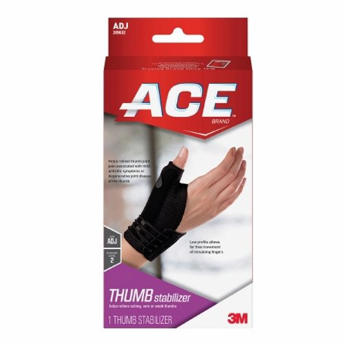 Thumb Stabilizer Ace Brand Deluxe Low Profile Nylon / Polyurethane Foam / Spandex Left or Right Hand - 12 Count by 3M Stabilizes and supports sore, weak or injured thumbTwo reinforced stabilizers help support the thumbLow profile design and materials allow for free movement of remaining fingersEasy lacing system for one step application and adjustabilitySoft, breathable materials enhance comfortEasy on, easy off design