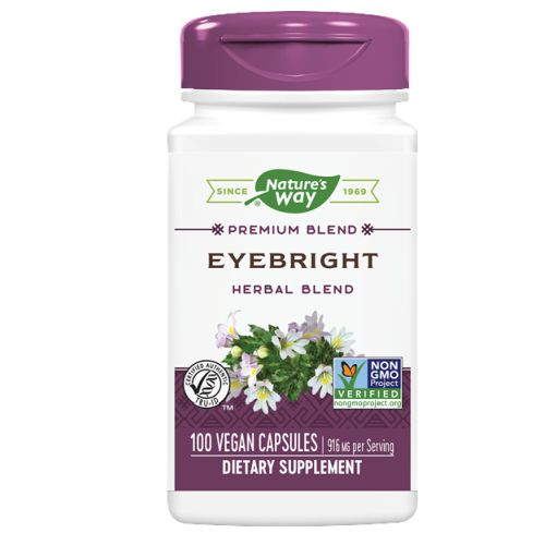 Herbal Eyebright 100 Caps by Nature's Way Hours of watching TV or using your phone can result in poor eyesight. If you fall in this category, try the Herbal Eyebright by Nature's Way. This dietary supplement is made from a blend of 5 herbs that can help you with your eyesight. This is also good for people who have light-sensitive eyes and inflammation. Herbal Eyebright gives the best results when it is used on a low mucous generating diet.Benefits:Helps to improve eyesightGood for people who have poor visionAlso helps with inflammationDietary SupplementMade from 5 herbs