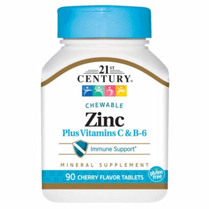 Zinc Chewable with C & B6 Cherry Chew 90 Tabs by 21st Century