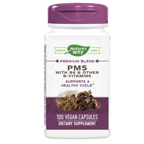 PMS with B6 & other B-Vitamins 100 Caps by Nature's Way PMS with B6 & other B-Vitamins is a blend of four herbal ingredients which helps in dealing with PMS and also heals period cramps. It contains Thiamine, Ryaboflavine and pyridoxine deals with iregular period cycle. It helps in fulfilling the lack of nutrient in a female body during days of periods. BenefitsPromotes regular and healthy menstrual cycleRelieves pain and cramps during periodRelieves depression and stressDietary supplement for Vit - B complex