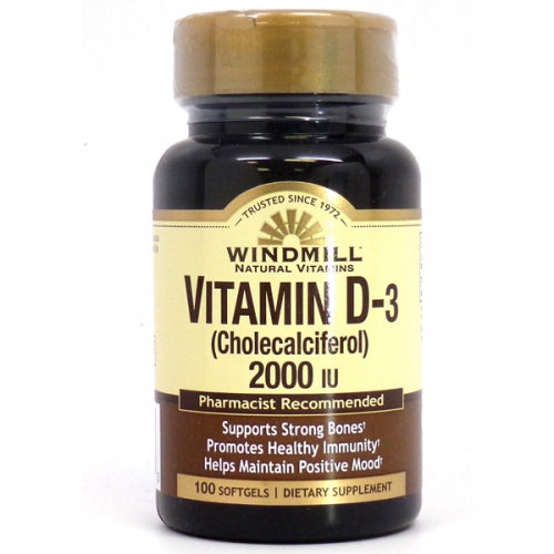 Vitamin D 2000 IU 100 Softgels by Windmill Health Products
