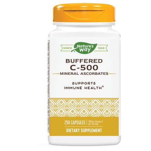 Vitamin C 500 Ascorbate Buffered 250 Caps by Nature's Way Vitamin C 500 is a chewable tablet which helps in fulfilling the deficiency of vitamin C and to develop and repair of all body tissues. It helps in boosting immunity system also makes it active. Vitamin C 500 helps in keeping skin healthy and also makes it glowing. It is rich in ascorbic acid which is very important for body. It can be consumed by both kids and adults.BenefitsPromotes collagen formationHealthy for bones and teethHeals wound fasterDecreases wrinklesDecreases stroke tendencies