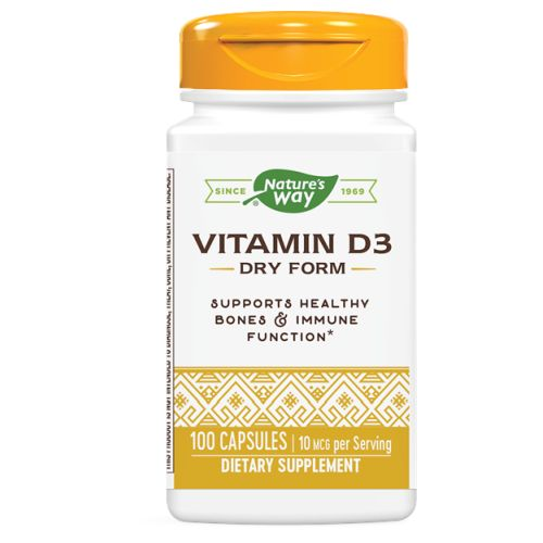 Vitamin D Dry 100 Caps by Nature's Way Certified PotencyDietary Supplement Health & longevity through the healing power of nature?that's what it means to Trust the Leaf. Vitamin D helps the body regulate the transport of calcium from the digestive system, through the bloodstream and to the bone. It also assists in the retention of calcium & phosphorus. Our Vitamin D is carefully tested and produced to certified quality standards.For Bones & TeethPremium Quality