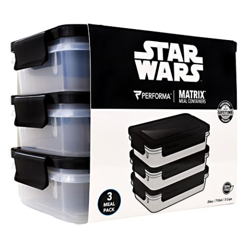 Meal Prep Containers Darth Vader 3 Each by PerfectShaker Performa. 3 Meal Pack. BPA Free. Matrix. Meal Containers. 3rd Party Tested. Microwave Safe. Freezer Safe. Dishwasher Safe. BPA Free: Non-Toxic And 3rd Party Tested. EXTRALAST UV INK: Designed To Protect From Fading And Chipping. Stack Or Nest For Storage. 100% Leak Proof And Airtight. DURAPLEX Made With Shatter Resistant Polymer Blend + Icon. Easy Grab And Close Tabs. Perfoma Is Performance.