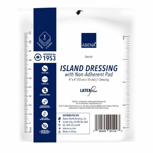 Adhesive Dressing 4 X 4 Inch White Case of 250 by Abena