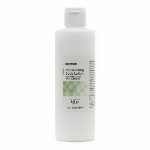 Hand and Body Moisturizer 8 Oz by McKesson McKesson Moisturizing Body Lotion. 8 fl. Oz (237 ml). Soothes and moisturizes dry skin. Helps keep skin soft. Not Made with Natural Rubber Latex. Packaged: 36 Per Case.
