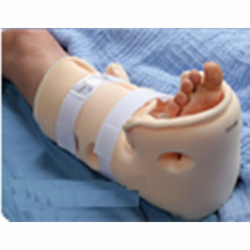 Heel Suspension Boot Beige 1 Each by Patterson Medical Includes an extra pad which can be used to help prevent hip rotation or foot drop. The pad can easily be customized to address Achilles tendon erythema. Non-abrasive straps with D-ring closures allow easy, one-handed adjustment of straps for ultimate comfort. Friction-free tricot backing for improved patient mobility and a polyethylene stiffener to prevent buckling. Extended stitching to narrow the forefoot and increase support. Height Range: 60 to 77 inch. Weight Range: 120 to 250 pounds.