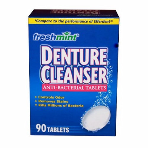 Denture Cleaner Tablets 90 Count by New World Imports Tablets help control odors and remove stains. Kills millions of bacteria. Each tablet is individually wrapped.