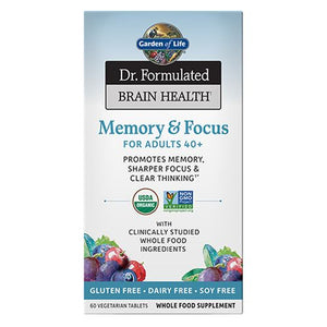 Dr. Formulated Brain Health Memory & Focus for Adults 40+ 60 Tablets by Garden of Life