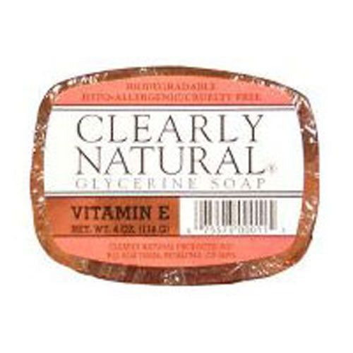 Vitamin-E Soap 4 OZ EA by Clearly Natural The vitamin E soap of Clearly Natural is a skincare soap which is specially formulated to nourish dry and sensitive skin. These soaps are enriched with vitamin E, glycerine, and other nutrients which make your skin soft, smooth and supple. They are ideal for deep cleansing of your skin and assist you in dealing with many issues such as pimples, acne, dark spots, etc. as they comprise of essential oils as well.BenefitsRich in Vitamin EHypoallergenicGlycerine & oil basesSmoothens the skinClears the skin