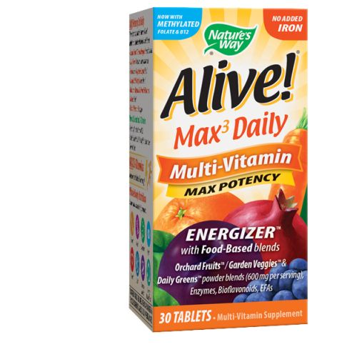 Alive Multi-Vitamin no Iron 30 Tabs by Nature's Way #1 Mega Nutrient26 Fruits  Lutein  ResveratrolConsidered as Dietary SupplementGreen Foods  Enzymes  Mushrooms  Amino AcidsNew & Improved!Vitamins & Minerals