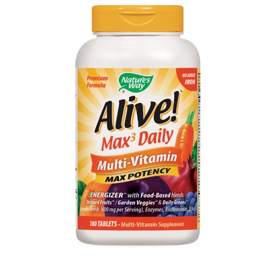 Alive Multi-Vitamin no Iron 180 Tabs by Nature's Way #1 Mega Nutrient26 Fruits  Lutein  ResveratrolConsidered as Dietary SupplementGreen Foods  Enzymes  Mushrooms  Amino AcidsNew & Improved!Vitamins & Minerals