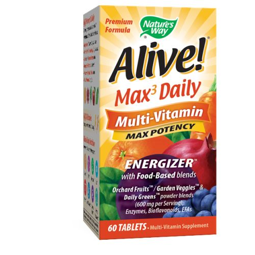 Alive Multi-Vitamin 60 Tabs by Nature's Way Multi-Vitamin SupplementWith Food Based BlendsOrchard Fruits/Garden Veggies*