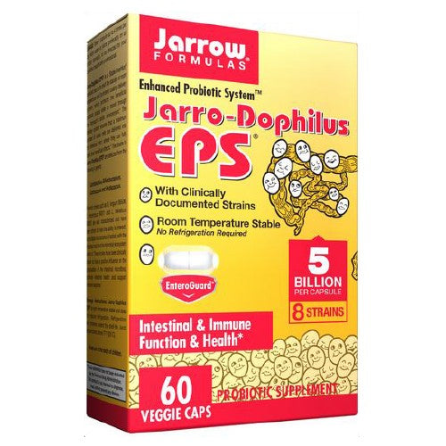 Jarro-Dophilus EPS 60 Caps by Jarrow Formulas #1 Probiotic Product in the US8 Species with Clinically Documented StrainsEnhanced Probiotic SystemEnteric Coated!For Intestinal and Immune HealthIndividually Blister SealedJarrow Formulas Puts the  Pro  in ProbioticsNo Refrigeration Required!Probiotic Supplement Room Temperature StableThe Probiotic Super Enteroguard Formula** Vegetarian Vegetarian Capsules