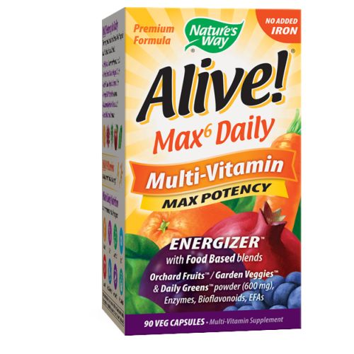 Alive Multi-Vitamin no Iron 90 Vegicaps by Nature's Way #1 Mega Nutrient26 Fruits & Vegetables ? Green FoodsAntioxidants ? Lutein ? ResveratrolConsidered as Dietary SupplementEnzymes ? Mushrooms ? Amino AcidsNew & Improved!Vitamins & Minerals