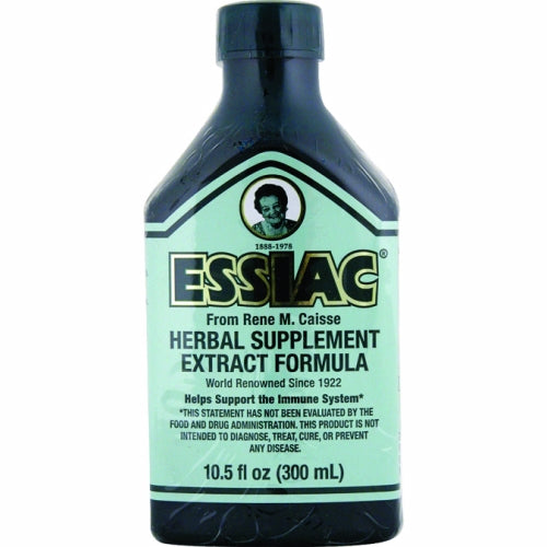 Essiac Liquid Herbal Supplement Extract Formula 10.5 fl oz by Essiac International Essiac Herbal therapy is an organic, non-toxic drug free herbal therapy that is an effective blood, liver and lymph cleanser, helps break down nodular masses, and purifies the blood, relieves pain, and increases antibodies. Discovered among the Ojibway indians in 1922, Essiac tea is made with herbs.. The primary herbs in the Essiac formula are Sheep Sorrel, Burdock Root, Slippery Elm Bark and Rhubarb Root. Four other herbs, kelp, red clover, blessed thistle and watercress, are added in small amounts. Essiac Herbal Tea/Tisane.. The herbs are grown without the use of herbicides or pesticides.. . .