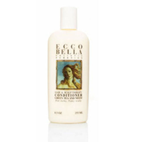 Hair & Scalp Therapy Conditioner 8.5 oz by Ecco Bella Botanicals The Safe Shopper's Bible gives this shampoo and conditioner its highest rating in the dandruff shampoo category. Essential oils of neem and green tea help relieve the itching and flaking.. . . . A luxurious shampoo and hair conditioner that also relieves the itchy, flaky scalp problem that plagues us. They contain no chemicals that may cause irritation, instead we use Neem, a herbal therapy from the neem tree in India, referred to as the village pharmacy for its ability to improve the condition of the scalp. Neem is a traditional antibacterial and antifungal that relieves all types of skin ailments. Also, Organic safflower oil and soy proteins provide protection & body. Biotin, inositol and panthenol are B vitamins that improve hair flexibility, helps avoid blow-drying damage and reduce split ends. Glycerine plumps and smoothes, organic herbs beautify and protect. Essential oils of cedarwood, fir, rosemary, lavender, juniper, ginger rev up the roots, balance, and deep cleanse.Its PH is 5.5 for superior condit