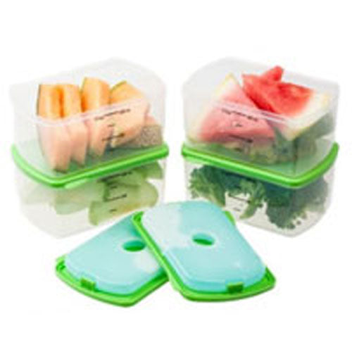 Smart Portion 2 Cup Chilled Containers Set 1 EACH by Fit & Fresh Plastic containers are microwave, freezer, and top rack dishwasher safePack fresh and healthy foods in the perfect portion sizeRemovable, reusable ice pack snaps into lid to keeping food chilled and freshLarge tabbed lids for easy opening(4) 2 cup Smart Portion containers with (4) individual lids and (2) ice packs is a perfect set for packing healthy side dishes or snacks