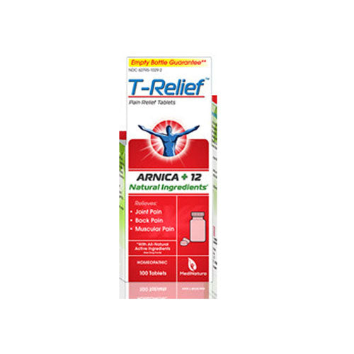 T-Relief Pain Relief Tablets 100 Tab by MediNatura Natural Ingredients Homeopathic Relives Joint Pain* Back Pain* Muscular Pain*