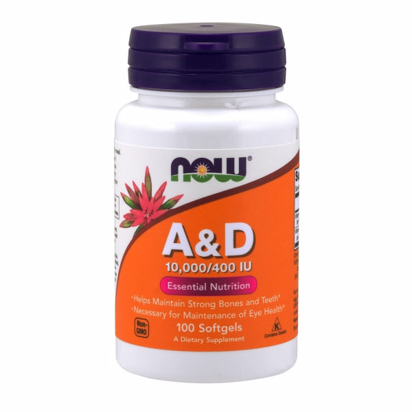 Vitamin A & D 100 Sgels by Now Foods Vitamin A is essential for the maintenance of healthy epithelial tissue, which is found in the eyes, skin, respiratory system, GI and urinary tracts.* Vitamin D promotes calcium absorption and calcium transport to bones.*