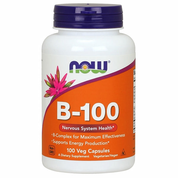 Vitamin B-100 100 Caps by Now Foods B-100 Caps provide a full complement of B-Vitamins plus Choline and Inositol. These vitamins work to support energy production, maintain healthy homocysteine metabolism, and promote the health of the nervous system.* B-Vitamins are water soluble, and with the exception of B-12, have limited storage in the body and thus require daily replenishment. While B-12 is stored in the liver, dietary sources are of animal origin only (meat and dairy) and supplementation with B-12 may be especially important for vegetarians.