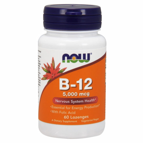 Vitamin B-12 60 Tabs by Now Foods Vitamin B-12 (Cyanocobalamin) is a water soluble vitamin necessary for the maintenance of a healthy nervous system and for the production of energy from fats and proteins.* Vitamin B-12 is also essential for the synthesis of DNA during cell division and therefore is especially important for rapidly multiplying cells, such as blood cells.* In addition, adequate intake of Vitamin B-12, along with Folic Acid and Vitamin B-6, is critical for the conversion of homocysteine to methionine, thereby supporting a healthy cardiovascular system.* While B-12 is stored in the liver, dietary sources are of animal origin only (meat and dairy). Therefore, supplementation with B-12 may be especially important for strict vegetarians.