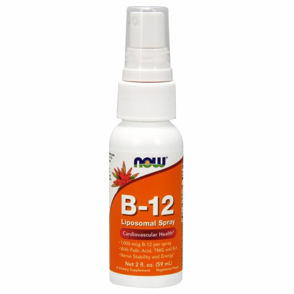 Vitamin B-12 Liposomal Spray 2 OZ by Now Foods Vitamin B-12 (Cyanocobalamin) is a water soluble vitamin necessary for the maintenance of a healthy nervous system and for the metabolic utilization of fats and proteins.*