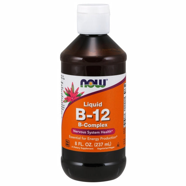 Vitamin B-12 Complex 8 OZ by Now Foods Vitamin B-12 (cyanocobalamin) is a water soluble vitamin necessary for the maintenance of a healthy nervous system and for the production of energy from fats and proteins.* Vitamin B-12 is also essential for the synthesis of DNA during cell division and therefore is especially important for rapidly multiplying cells, such as blood cells.* In addition, adequate intake of vitamin B-12, along with folic acid and vitamin B-6, is critical for the conversion of homocysteine to methionine, thereby supporting a healthy cardiovascular system.* While B-12 is stored in the liver, dietary sources are of animal origin only (meat and dairy). Therefore, supplementation with B-12 may be especially important for strict vegetarians.
