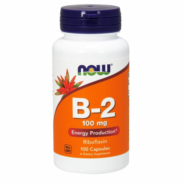 Vitamin B-2 (Riboflavin) 100 Caps by Now Foods Vitamin B-2, also known as Riboflavin, is a member of the B-vitamin family. It occurs naturally in green vegetables, liver, kidneys, wheat germ, milk, eggs, cheese and fish. Riboflavin is an important enzyme cofactor necessary for energy production from carbohydrate, fat, and protein.* It is also needed for the regeneration of glutathione, which supports the body's natural defense mechanisms and detoxification systems.*
