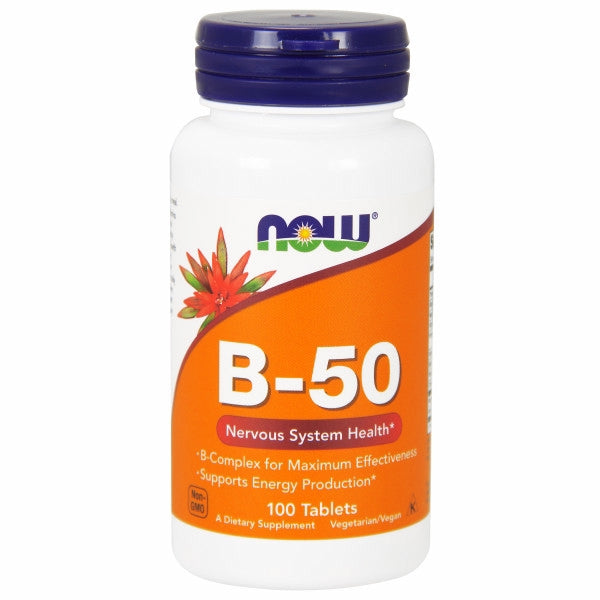 Vitamin B-50 100 Tabs by Now Foods B-50 Tabs provide a full complement of B-Vitamins plus Choline and Inositol. These vitamins work to support energy production, maintain healthy homocysteine metabolism, and promote the health of the nervous system.* B-Vitamins are water soluble, and with the exception of B-12, have limited storage in the body and thus require daily replenishment. While B-12 is stored in the liver, dietary sources are of animal origin only (meat and dairy) and supplementation with B-12 may be especially important for vegetarians.