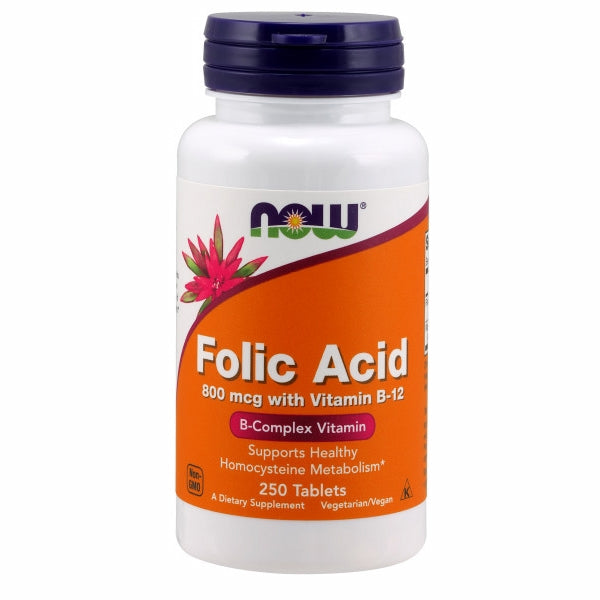 Folic Acid with Vitamin B-12 250 Tabs by Now Foods Folic Acid is a very important member of the B-vitamin family required for DNA synthesis and genetic repair, making an adequate supply essential for rapidly dividing cells, such as red blood cells.* Folic Acid is also necessary for the synthesis of methionine from homocysteine and can help to contribute to the healthy function of both the cardiovascular and nervous system.*