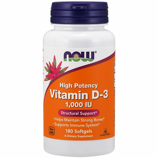 Vitamin D-3 180 Sofgels by Now Foods Now Vitamin D-3 softgels supply this key vitamin in a highly absorbable liquid softgel form. Vitamin D is normally obtained from the diet or produced by the skin from the ultraviolet energy of the sun. However, it is not abundant in food. As more people avoid sun exposure, vitamin D supplementation becomes even more necessary to ensure that your body receives an adequate supply.