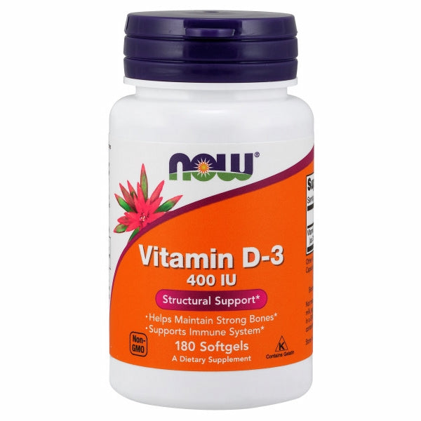 Vitamin D-3 180 Softgels by Now Foods Now Vitamin D-3 softgels supply this key vitamin in a highly-absorbable liquid softgel form. Vitamin D is normally obtained from the diet or produced by the skin from the ultraviolet energy of the sun. However, it is not abundant in food. As more people avoid sun exposure, Vitamin D supplementation becomes even more necessary to ensure that your body receives an adequate supply.