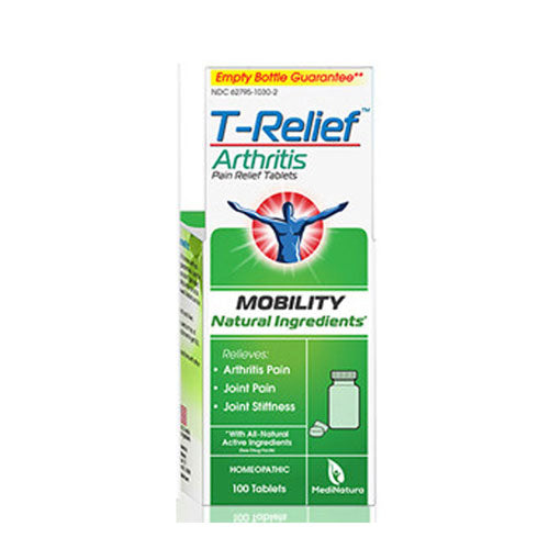 T-Relief Arthritis Pain Relief Tablets 100 Tabs by MediNatura All Natural Active Ingredients Mobility Homeopathic Relives Arthritis Pain* Joint Pain* Joint Stiffness*