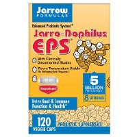 Jarro-Dophilus EPS 120 Caps by Jarrow Formulas #1 Probiotic Product in the US8 Species with Clinically Documented StrainsEnhanced Probiotic SystemEnteric Coated!For Intestinal and Immune HealthIndividually Blister SealedJarrow Formulas Puts the  Pro  in ProbioticsNo Refrigeration Required!Probiotic Supplement Room Temperature StableThe Probiotic Super Enteroguard Formula** Vegetarian Vegetarian Capsules