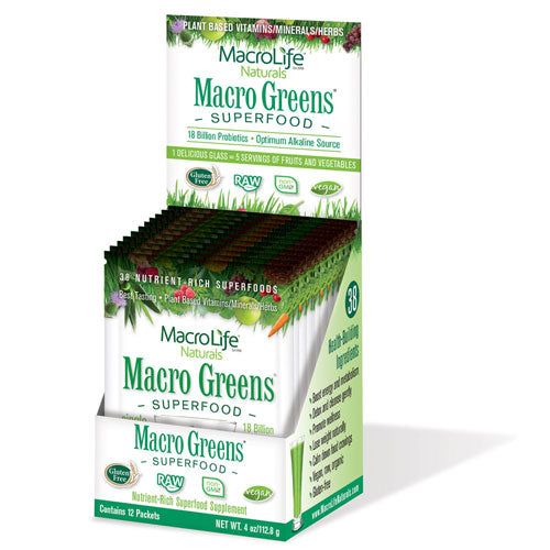 Macro Greens NutrientRich Super Food Supplement 12 packets by Macrolife Naturals Taste the difference  feel the difference! 5 Servings of fruits & veggies! No  GMOs  Fillers  Sugar Added  Wheat/Gluten  Preservatives  Artificial Colors/Flavors. 100% All natural. Macro Greens gives you all the whole food nutritional goodness you expect from a green supplement  plus something unexpected  Great taste! 38 Allnatural  healthbuilding ingredients! Boost energy & metabolism. Strengthen immune system. Detox and cleanse gently. Promote wellness. Improve digestion. Calm down food cravings. Lose weight naturally. A complete  balanced  allnatural raw superfood. Macro Greens is an abundant source of antioxidant  conutrients  enzymes  Bvitamins  minerals  amino acids and acidophilus cultures for those who prefer to get AZ nutrition from whole foods. The perfect source for alkalizing the body. Made in USA. Nutrient Rich Super Foods (Organic Barley Grass Juice Powder  Organic Spirulina Powder  ChlorellaCracked Cell  Spinach Powder with Octacosanol  Triaconsanol  Hexacosanol  Tetracosanol Proprietary Blend)  NonDairy Probiotic Cultures Min  Organisms [At MFG.] (Lactobacillus Rhamnosus  Lactobacillus Acidophilus and Bulgaricus  Bifidobacterium Longum and Breve)  Antioxidants (Vitamin E [Natural DAlpha Tocopheryl Succinate]  Grape Seed [95% Proanthocyanidins]  Ginkgo Biloba [24% Ginkgo Flavoglycosides 6% Terpene Lactones])  Antioxidant Proprietary Blend (Acerola Berry Juice Powder [Natural Source of Vitamin C]  Bioflavonoids [Citrus]  Silymarin [Milk Thistle 80% Extract]  Green Tea [60% Polyphenols  40% Catechins]  Rutin)  Adaptogenic and Metabolic Herbs Proprietary Blend (Red Raspberry Powder  Parsley Juice Powder  Ginger Powder [Freeze Dried]  Horsetail Stem Powder  Royal Jelly [5% 10HDA]  Licorice Root Powder  Eleuthero Root Extract  Suma [Pfaffia Paniculata]  Astragulus Membranicus  Damiana  Echinacea Augustifolia [Extract 5% Echinacoside])  Natural Fibers Proprietary Blend (Lecithi
