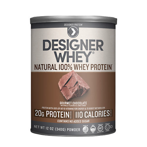 Designer Whey Protein Chocolate 12.7 Oz by Designer Whey 100 calories. 18g protein. 2g sugar. No artificial flavors. No artificial sweeteners. No gluten. No soy protein. No MSG. No casein. Designed for your active lifestyle. Our passion for health and fitness continually drives us to deliver smart, simple and convenient products-designed with your body in mind-so that you can easily reach your wellness goal, even with today's hectic schedules. As the innovators of whey protein powders since 1993, we strive to create products that evolve with your needs while being delicious, balanced for optimal health, and easy to fit into your daily routine. Why designer whey? Great taste. Smooth and delicious-making your nutrition plan that much more enjoyable! 100 calories. With each servings at only 100 calories, you are in control of your protein and calorie intake. 18g protein. 36% of your daily protein per serving-the right amount of your active lifestyle, yet easy on your digestive system. 100% premium whey protein. Our whey is pure so body quickly absorbs it for maximum post-workout recovery and nutrition. Designer whey is a complete protein with the right balance of amino acids that help your immune system. Essential vitamins & minerals. Excellent source of calcium, vitamin D and B-vitamins.