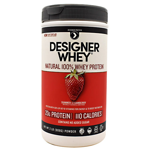 Designer Whey Protein Strawberry 2.1 Lb by Designer Whey 100 calories. 18g protein. 2g sugar. No artificial flavors. No artificial sweeteners. No gluten. No soy protein. No MSG. No casein. Designed for your active lifestyle. Our passion for health and fitness continually drives us to deliver smart, simple and convenient products-designed with your body in mind-so that you can easily reach your wellness goal, even with today's hectic schedules. As the innovators of whey protein powders since 1993, we strive to create products that evolve with your needs while being delicious, balanced for optimal health, and easy to fit into your daily routine. Why designer whey? Great taste. Smooth and delicious-making your nutrition plan that much more enjoyable! 100 calories. With each servings at only 100 calories, you are in control of your protein and calorie intake. 18g protein. 36% of your daily protein per serving-the right amount of your active lifestyle, yet easy on your digestive system. 100% premium whey protein. Our whey is pure so body quickly absorbs it for maximum post-workout recovery and nutrition. Designer whey is a complete protein with the right balance of amino acids that help your immune system. Essential vitamins & minerals. Excellent source of calcium, vitamin D and B-vitamins.