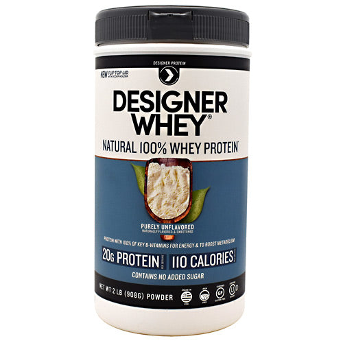 Designer Whey Protein Natural 2 lb by Designer Whey 100 calories. 19g protein. 2g sugar. No artificial flavors. No artificial sweeteners. No gluten. No soy protein. No MSG. No casein. Designed for your active lifestyle. Our passion for health and fitness continually drives us to deliver smart, simple and convenient products-designed with your body in mind-so that you can easily reach your wellness goal, even with today's hectic schedules. As the innovators of whey protein powders since 1993, we strive to create products that evolve with your needs while being delicious, balanced for optimal health, and easy to fit into your daily routine. Why designer whey? Great taste. Smooth and delicious-making your nutrition plan that much more enjoyable! 100 calories. With each servings at only 100 calories, you are in control of your protein and calorie intake. 18g protein. 36% of your daily protein per serving-the right amount of your active lifestyle, yet easy on your digestive system. 100% premium whey protein. Our whey is pure so body quickly absorbs it for maximum post-workout recovery and nutrition. Designer whey is a complete protein with the right balance of amino acids that help your immune system. Essential vitamins & minerals. Excellent source of calcium, vitamin D and B-vitamins.